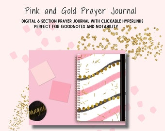 Pink and Gold Digital Prayer Journal with Hyperlinks, Prayer Journal, Gratitude Journal, Bible Study, for Goodnotes and Notability