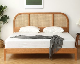 Bohemian Solid Cherry Wood Bed Frame | Rattan Bed | Wooden Bed | Boho Bed| Minimalist Bed  | Hand-Woven |