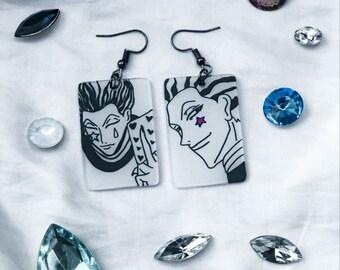 Anime  Joker   Magic  Anime Earrings  Shrinky Dink Earrings   Custom Earrings  Nickel and lead free   Phantom Troupe 