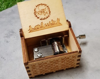 Hand cranked mechanism. Personalized engraved gift Lord of the Rings Music Box The Road Goes Ever On