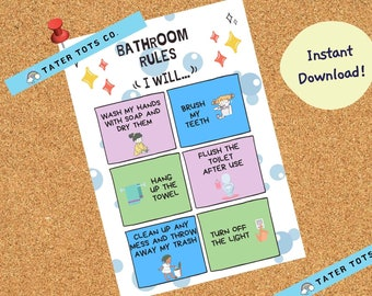 Toddler Poster Bathroom Rules, Wall art, Printable Sign for kids Instant Download/Editable (PDF)