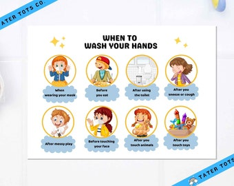 Toddler Poster When to wash your hands COVID19 sign A2-A4 sizes available, Instant Download (PDF)