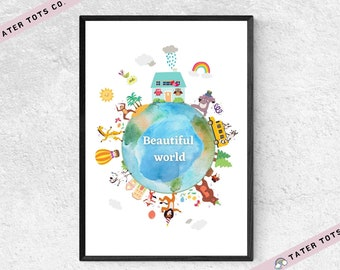 Creative Watercolor Beautiful Earth Animals, 3 colors,  Nursery Decor , Baby Shower Gift Instant Download (PDF)