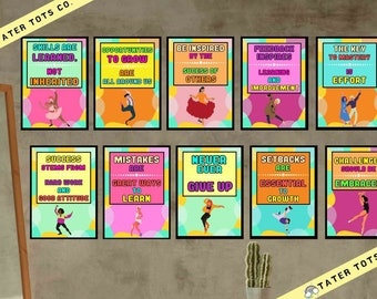 Growth Mindset posters for Studio/Classroom Dance moves (Set of 10 prints), Instant Download (PDF)