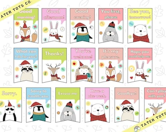 Winter animals polite words classroom poster Bundle, Kindness Signs (16 pieces) bunting Instant Download (PDF)