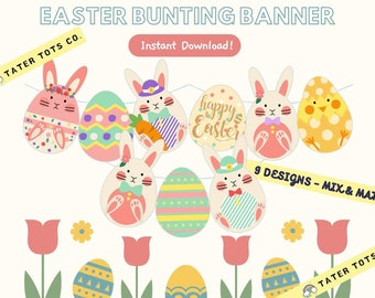 Easter Bunting Bunny Banner, Spring Decoration Easter Egg Display (9 pieces – Mix and match) Instant Download (PDF)
