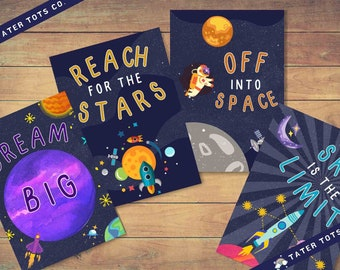 Outer Space Theme bedroom Inspirational wall art (Set of 4 posters), A2 – A4 sizes available, Instant Download (PDF)