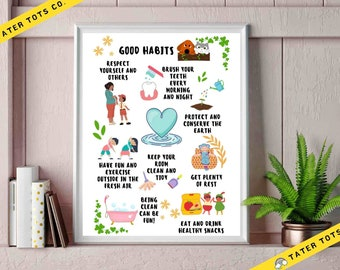 Toddler Poster Good Habits creative wall art for playroom, A2-A4 sizes available, Instant Download (PDF)