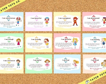 Daily Affirmations Card for kids, Mindfulness and kindness cards, A4-A6 sizes available, instant download PDF