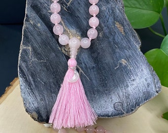 Rose Quartz, Sandalwood, and Howlite Beaded Mala Necklace w/Moonstone Pendant & Tassel, Healing Gemstones, Oil Diffusing, Yoga, Heart Chakra