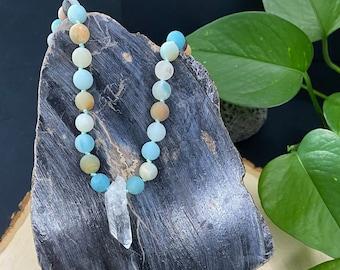 Amazonite & Sandalwood Beads with Clear Quartz Guru Pendant, Mala Necklace, Healing Gemstones, Meditation, Aromatherapy, Inner Warrior, Yogi