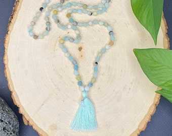 Amazonite & Moonstone Hand Tied Mala Necklace, Healing Crystals, Chakra Balancing, Yogi, Reiki, Meditation, Made in the USA, Inner Warrior