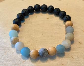 Natural Amazonite and Lava Beaded Mala Bracelet, Healing Gemstones, Gift for Her, Meditation, Reiki, Yogi, Inner Warrior, Oil Difusing