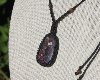 Gift for her Gift for easter Macrame  necklace with welo opal Birthday gift