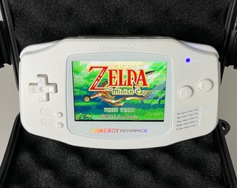 Pure White All White Gameboy Advance with backlit IPS screen upgrade!
