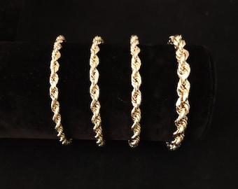 10K Gold Rope Chain Gold Rope Chain  Bracelet 3mm, 3.6mm, 4mm, 4.5mm, 5mm, 6mm 10K Gold Rope Chain, 10K Gold Chain,  Men, Women