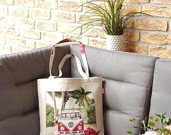 Shopping bag with Volkswagen Bulli pattern