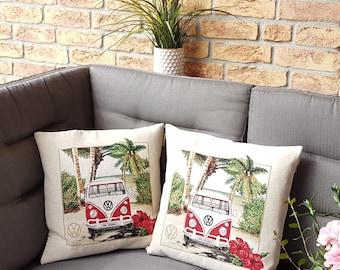 Cushion case with VW Kult Bulli pattern