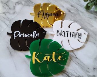 Personalized Monstera Leaf Acrylic Keychain   Bridesmaid, birthday, wedding, Christmas personalized gifts