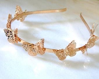 Butterfly, Butterfly Headband, Gold Headband, Metal Headband, Hair Accessory, Hair Accessories,