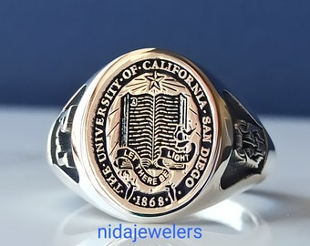 Custom Engraved College Graduation Ring, Personalized Class Signet Ring with Sterling Silver