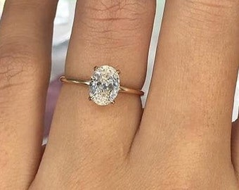 1 CT Oval Cut Solitaire Diamond Ring, Gorgeous Solitaire 925 Sterling Silver Ring, Simulated Diamond Ring, Promise ring, Engagement Ring