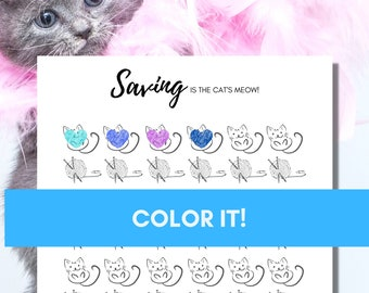 Savings Fund Tracker-The Cat's Meow Coloring Chart to Track your Savings Progress