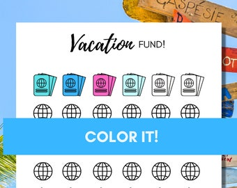 Vacation Fund Tracker-Fun Inspirational Coloring Chart to Track your Savings Progress