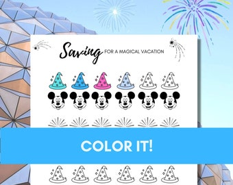 Disney Vacation Savings Tracker-Fun Inspirational Coloring Chart to Track Savings Progress