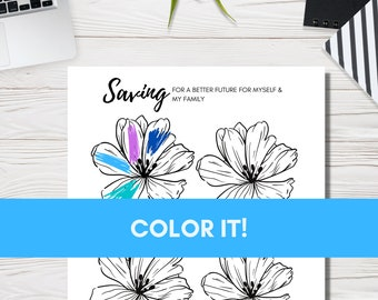 Savings Fund-Fun Inspirational Coloring Chart to Track your Savings Progress