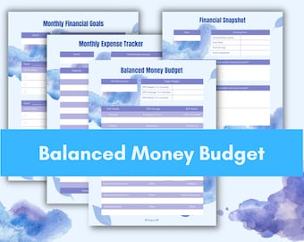 Monthly Balanced Money Budget Planner, Printable and Fillable Finance & Expense Trackers, **Google Spreadsheet Included**
