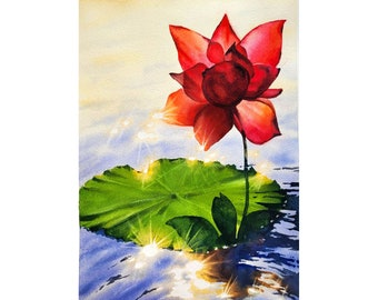 Water Lily Painting Lotus Original Art 9 by 12 Floral Painting Yoga Art  Original Watercolor Art by KayaWatercolor