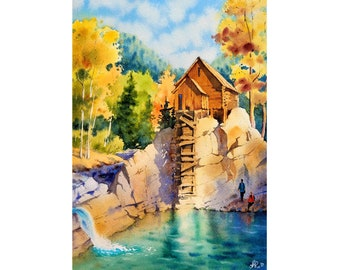 Barn Painting Watercolor Crystal Mill Original Art Landscape Wall Art 9 by 12 Hiking Artwork Colorado Original Art by KayaWatercolor