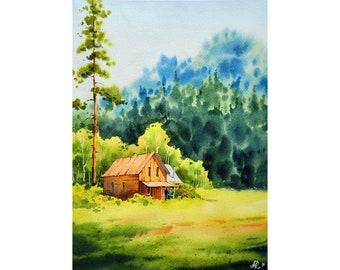 Aspen Painting Birch Trees Original Art Barn Painting 9 by 12 Hiking Wall Art Pine Artwork Original Watercolor Art by KayaWatercolor