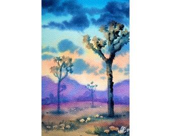 Joshua Tree Painting Landscape Original Art California Artwork 9 by 6 Desert Wall Art National Park Art by KayaWatercolor
