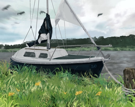 50 Year Boat - Sailing boat digital art - Premium print, multiple sizes, unframed