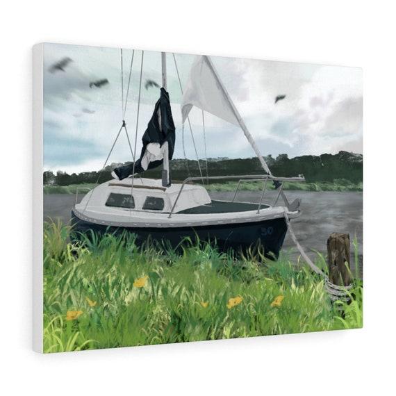 50 Year Boat - Sailing boat digital art - Stretched Canvas print, multiple sizes (EU)
