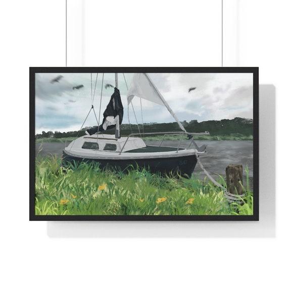50 Year Boat - Sailing boat digital art - multiple sizes, framed print
