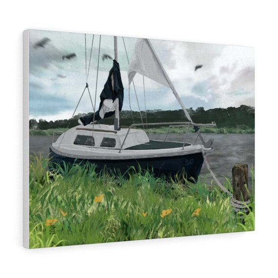 50 Year Boat - Sailing boat digital art - Stretched Canvas print, multiple sizes (USA)