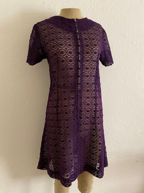 60s GoGo Dress Mod Purple Lace Sheer See-Through H