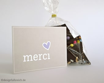 Merci postcard with heart