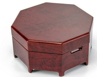 Enchanting Octagonal Zen Inspired Classic Toned Musical Jewelry Box - Many Songs to Choose