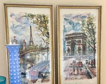 A Pair of vintage framed prints of Paris