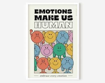 Emotions Make Us Human- 11x17 Print / Wall Art / Poster / Home Decor / Illustration/ Prints for Framing/ Decor