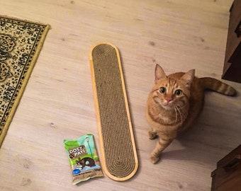 Furnivibe Wall Mounted Wooden Cat Scratcher, Decorative Cat Scratching Post, Cat Scratcher Pad Woven Sisal