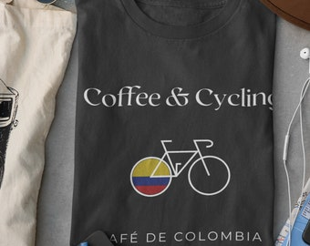 Coffee and Cycling Unisex T-shirt Design for Cyclists | Comfy Tour de France, Mountain Bike, Best Friend Gift, Birthday and Cycling Gifts