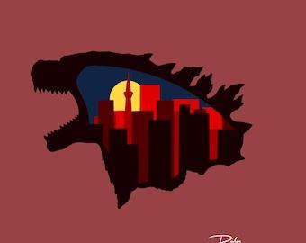 Godzilla Decor Design - Layered Vector Laser Cut Files (SVG, PNG)