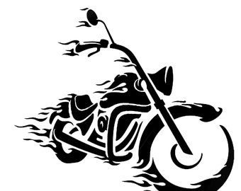 Motorcycle on Fire Digital File (SVG, PNG)