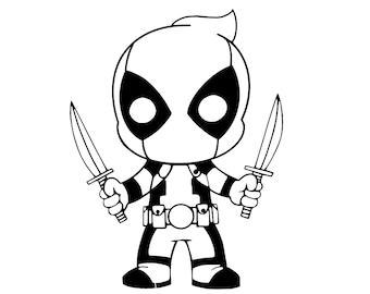 Deadpool Chibi Digital File (SVG, PNG)