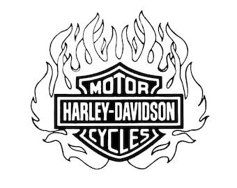 Harley Davidson Logo with Flames Digital File (PNG, SVG)